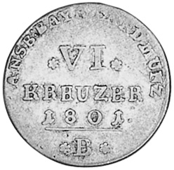 German States BRANDENBURG-ANSBACH-BAYREUTH 6 Kreuzer reverse