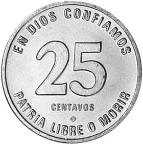 Nicaragua 25 Centavos reverse