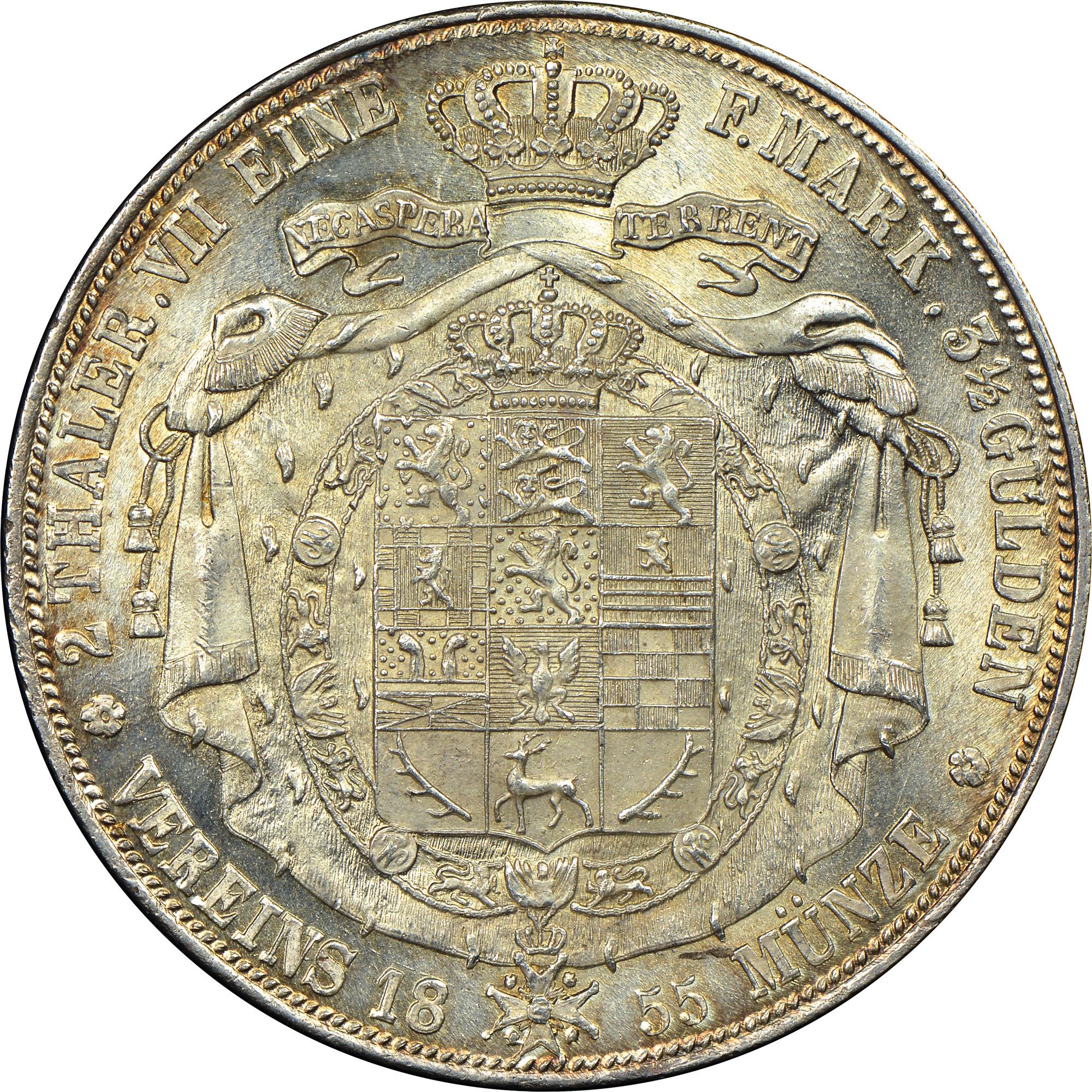 1850-1855 German States BRUNSWICK-WOLFENBUTTEL 2 Thaler, 3 1/2 Gulden reverse