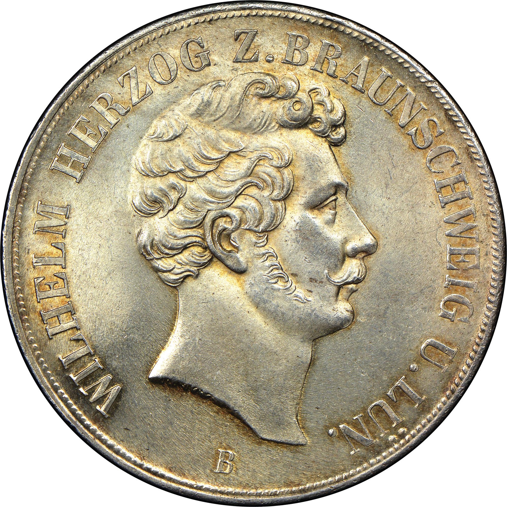 1850-1855 German States BRUNSWICK-WOLFENBUTTEL 2 Thaler, 3 1/2 Gulden obverse