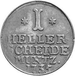 1730-1743 German States HESSE-CASSEL Heller reverse