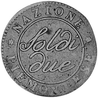 A(nno)9 (1800) Italian States PIEDMONT REPUBLIC Due (2) Soldi obverse
