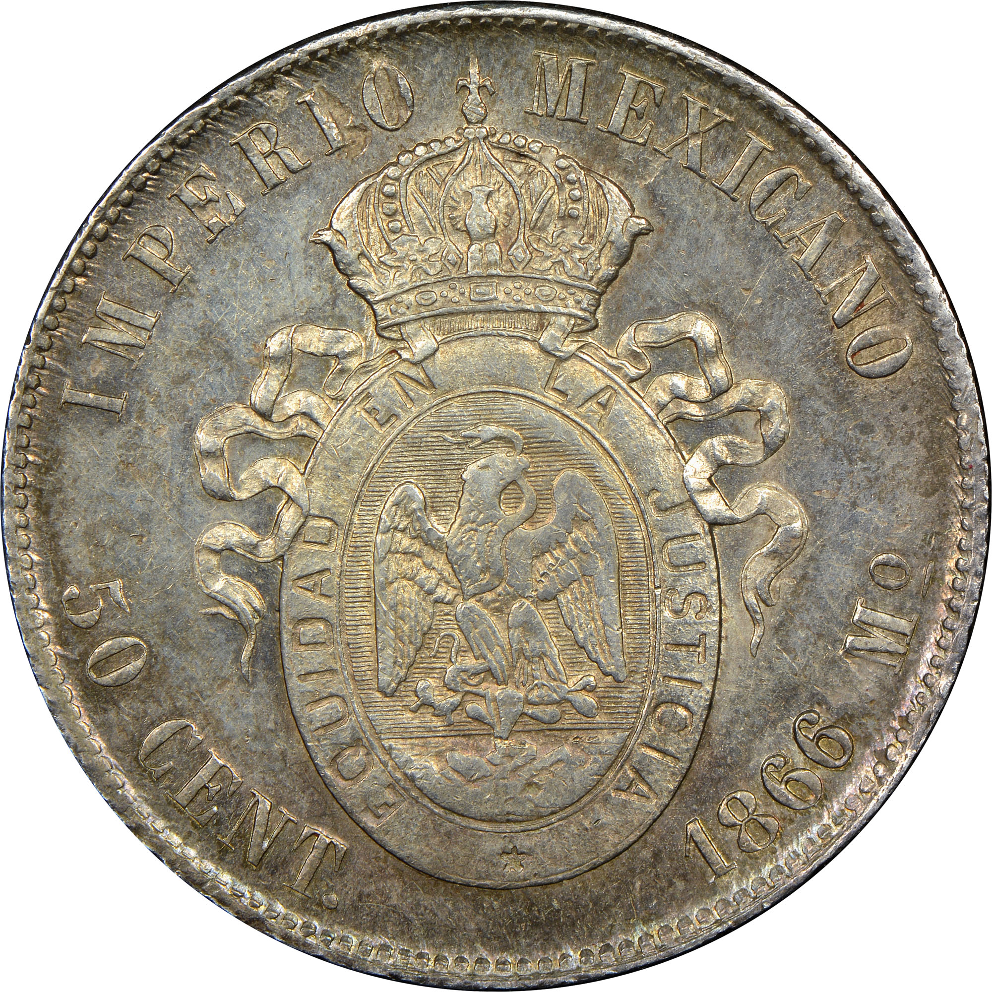 Mexico EMPIRE OF MAXIMILIAN 50 Centavos reverse