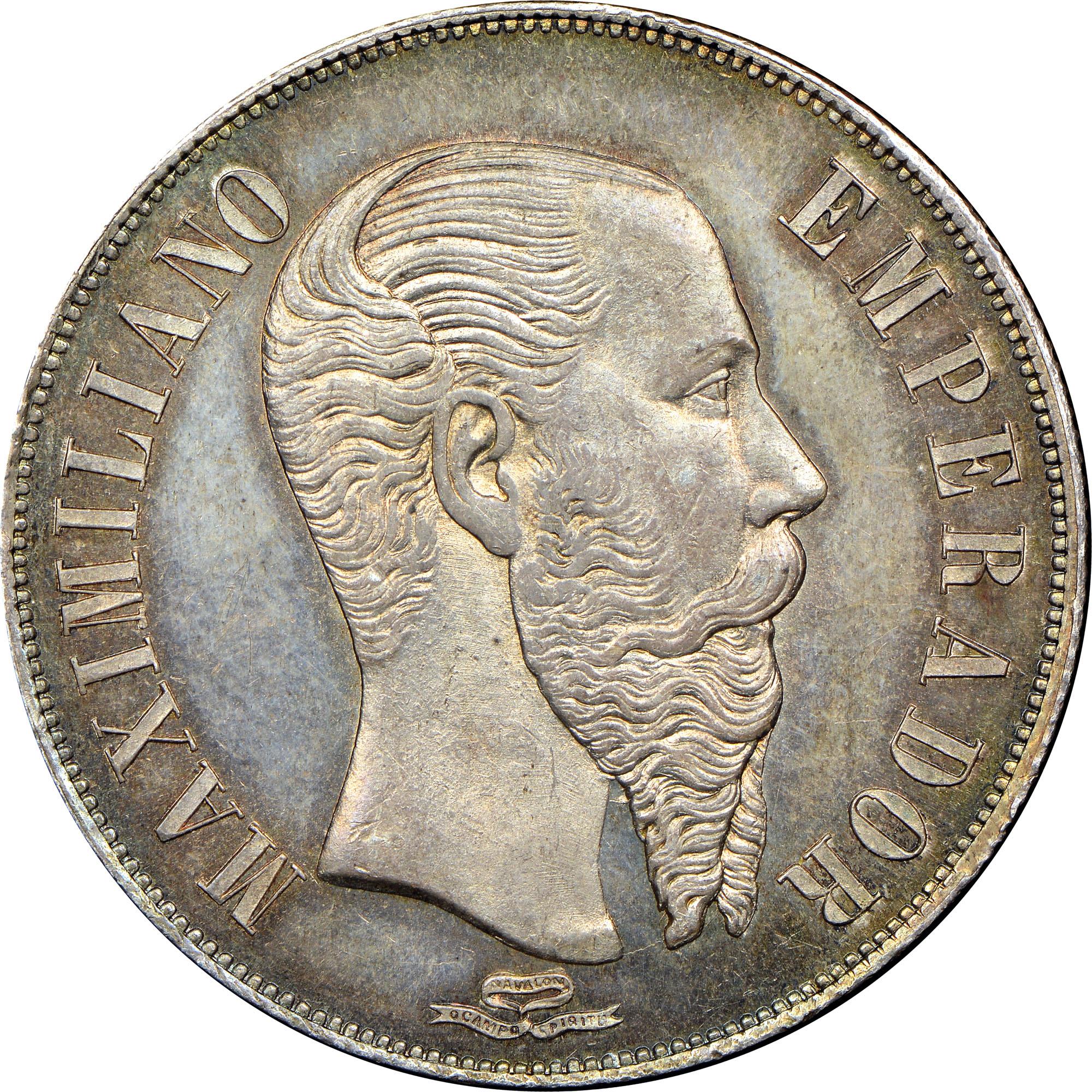 Mexico EMPIRE OF MAXIMILIAN Peso obverse