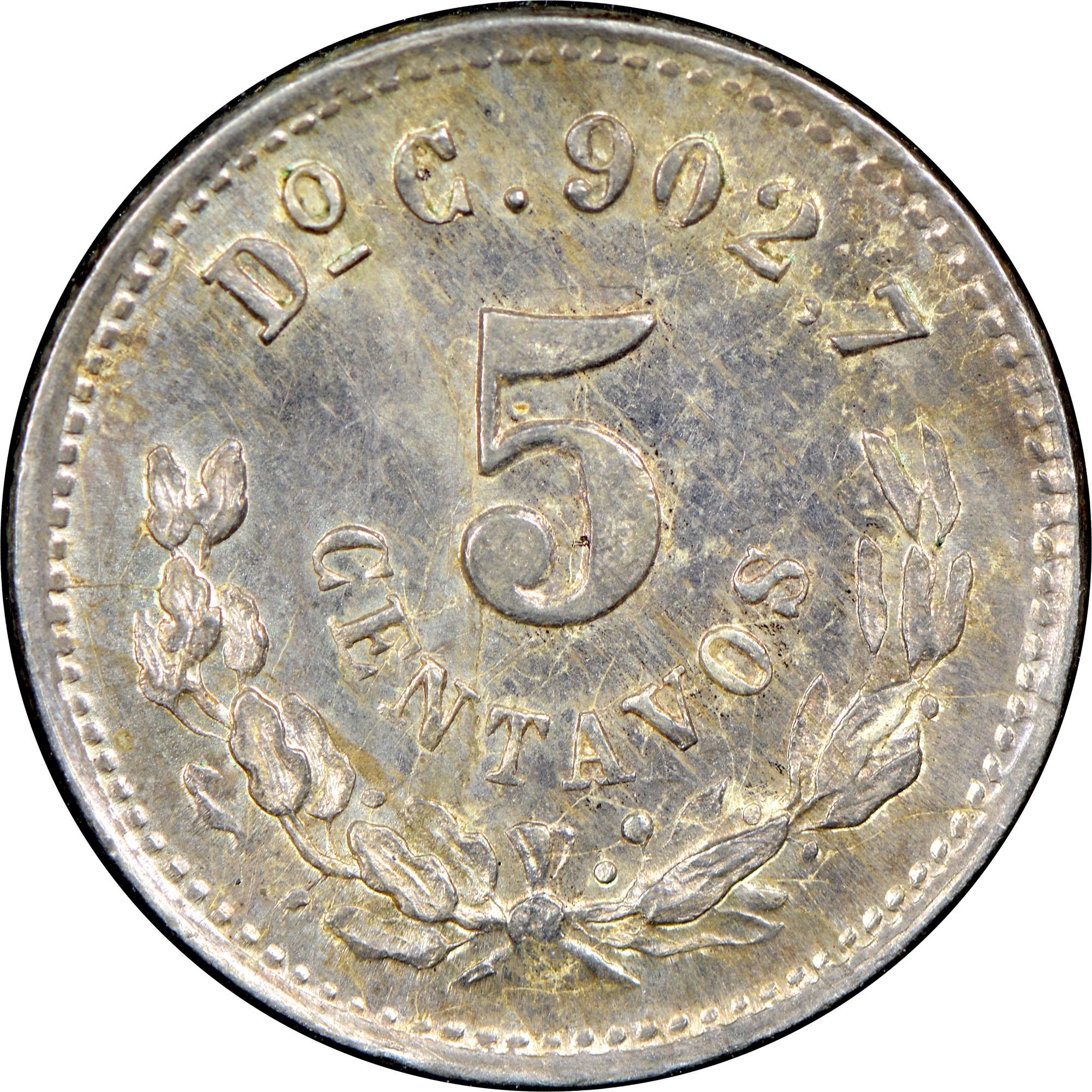 1874-1894 Mexico 5 Centavos reverse