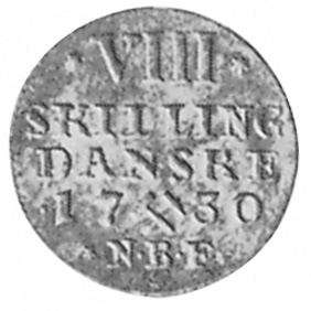 1727-1735 Norway 8 Skilling, 1/2 Mark reverse