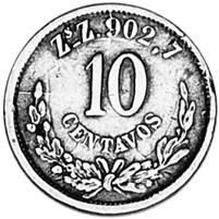 Mexico SECOND REPUBLIC 10 Centavos reverse