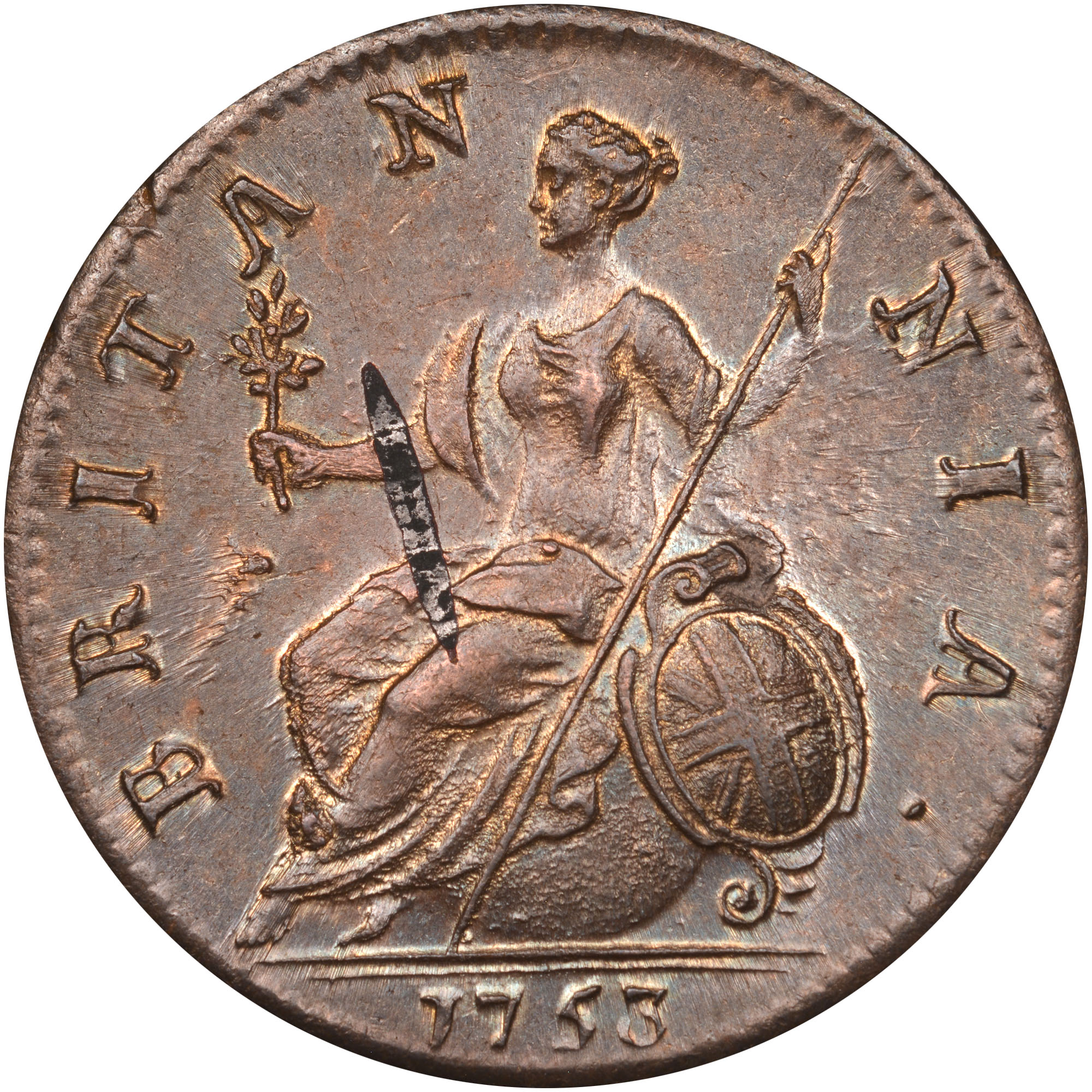 1746-1754 Great Britain 1/2 Penny reverse