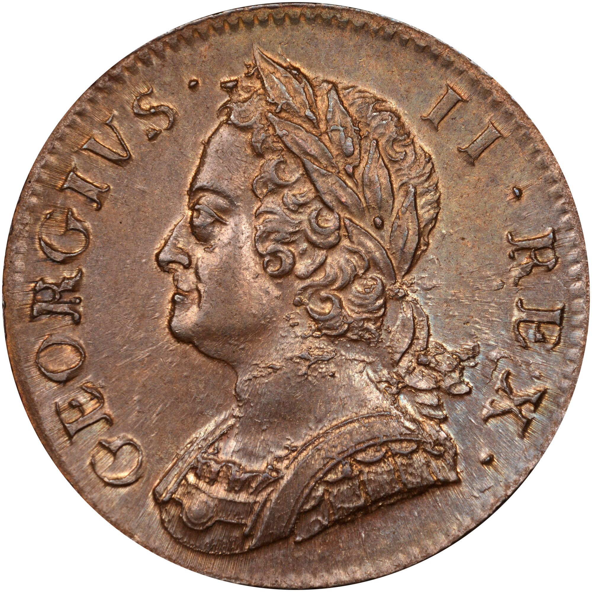 1746-1754 Great Britain 1/2 Penny obverse