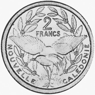 New Caledonia 2 Francs reverse