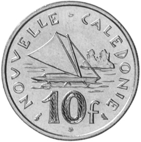 New Caledonia 10 Francs reverse