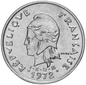New Caledonia 10 Francs obverse