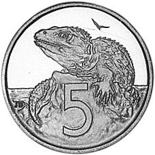 New Zealand 5 Cents reverse