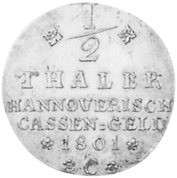 German States BRUNSWICK-LÜNEBURG-CALENBERG-HANNOVER 1/2 Thaler reverse