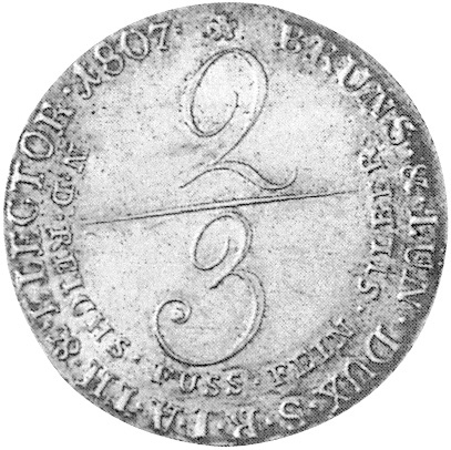 German States BRUNSWICK-LÜNEBURG-CALENBERG-HANNOVER 2/3 Thaler reverse