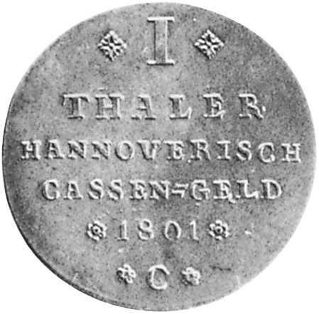 German States BRUNSWICK-LÜNEBURG-CALENBERG-HANNOVER Thaler reverse