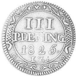 German States WISMAR 3 Pfennig reverse