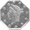 1855-1870 Us Territorial Gold CALIFORNIA 1/4 Dollar, Octagonal obverse