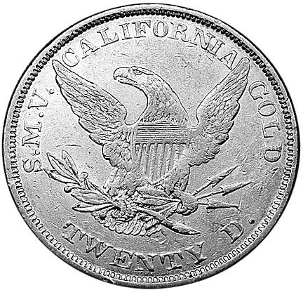 1851 Us Territorial Gold CALIFORNIA 20 Dollars reverse