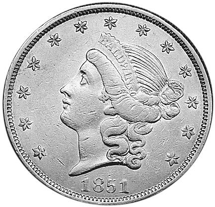 1851 Us Territorial Gold CALIFORNIA 20 Dollars obverse