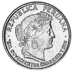 1942 Peru 10 Centavos obverse