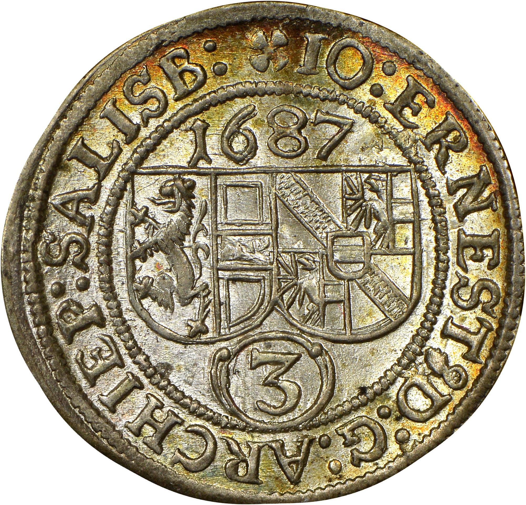 1687-1692 Austrian States SALZBURG 3 Kreuzer obverse