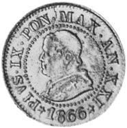 1866-XXI-1868-XXII Italian States PAPAL STATES Centesimo obverse