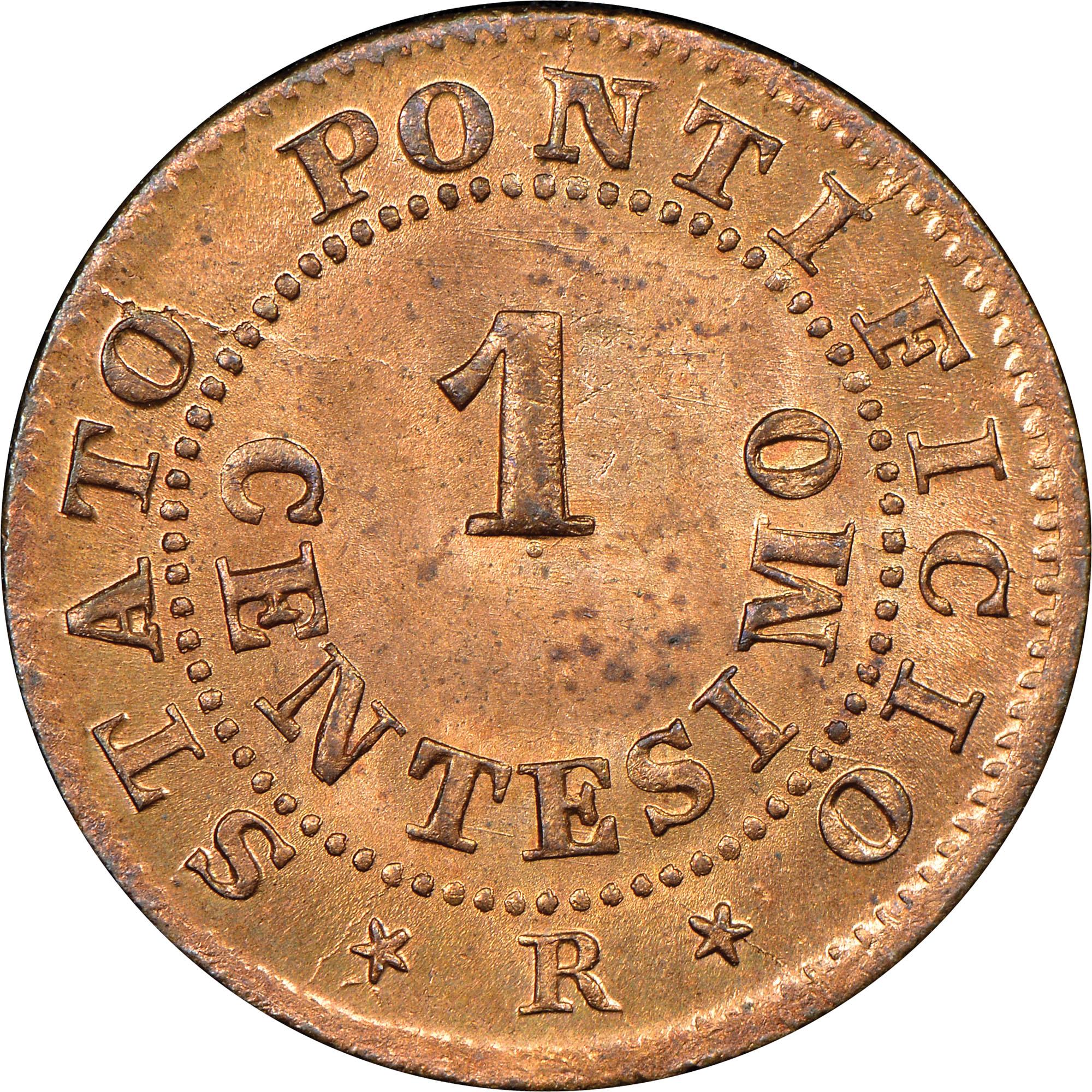 1866-XXI-1868-XXII Italian States PAPAL STATES Centesimo reverse