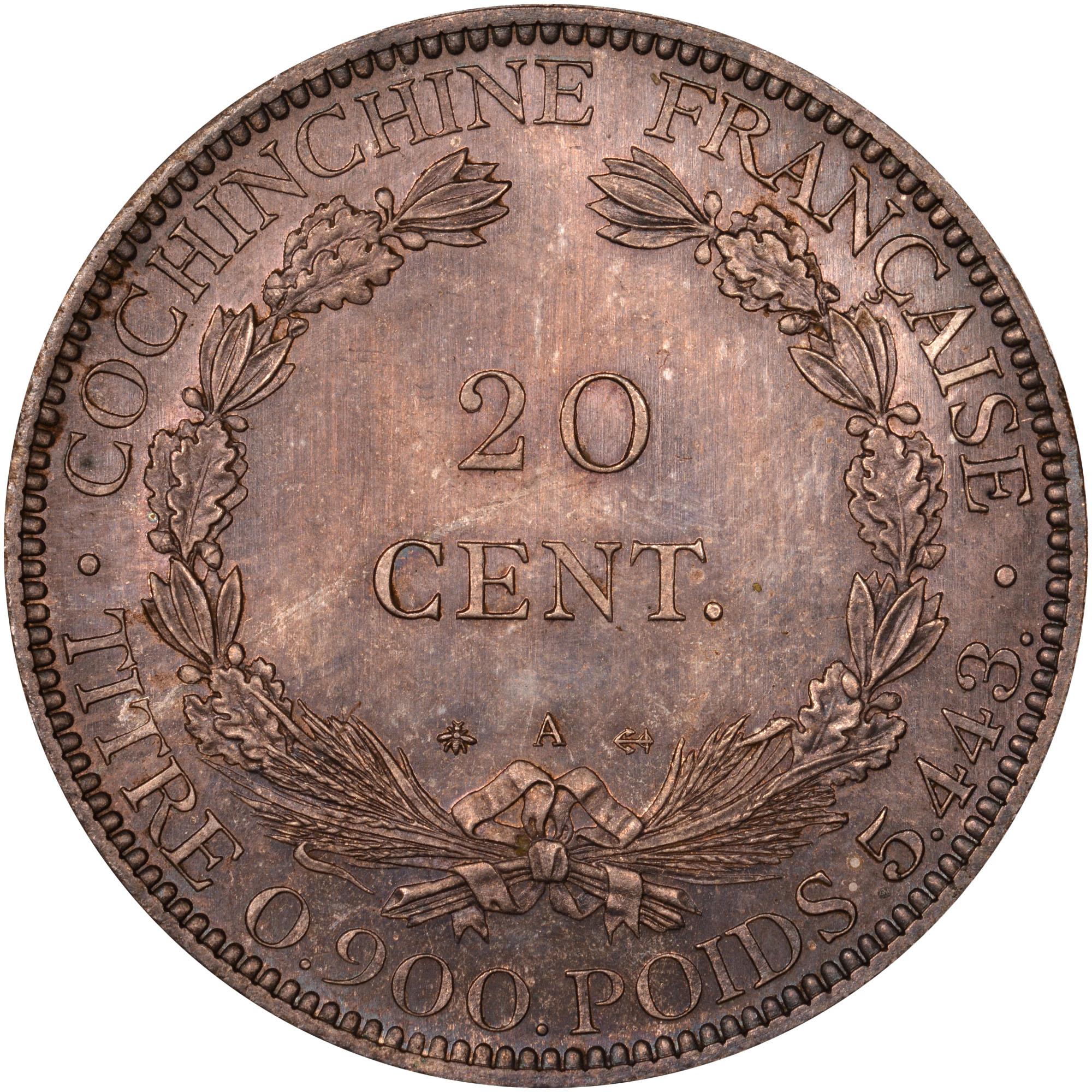 French Cochin China 20 Cents reverse