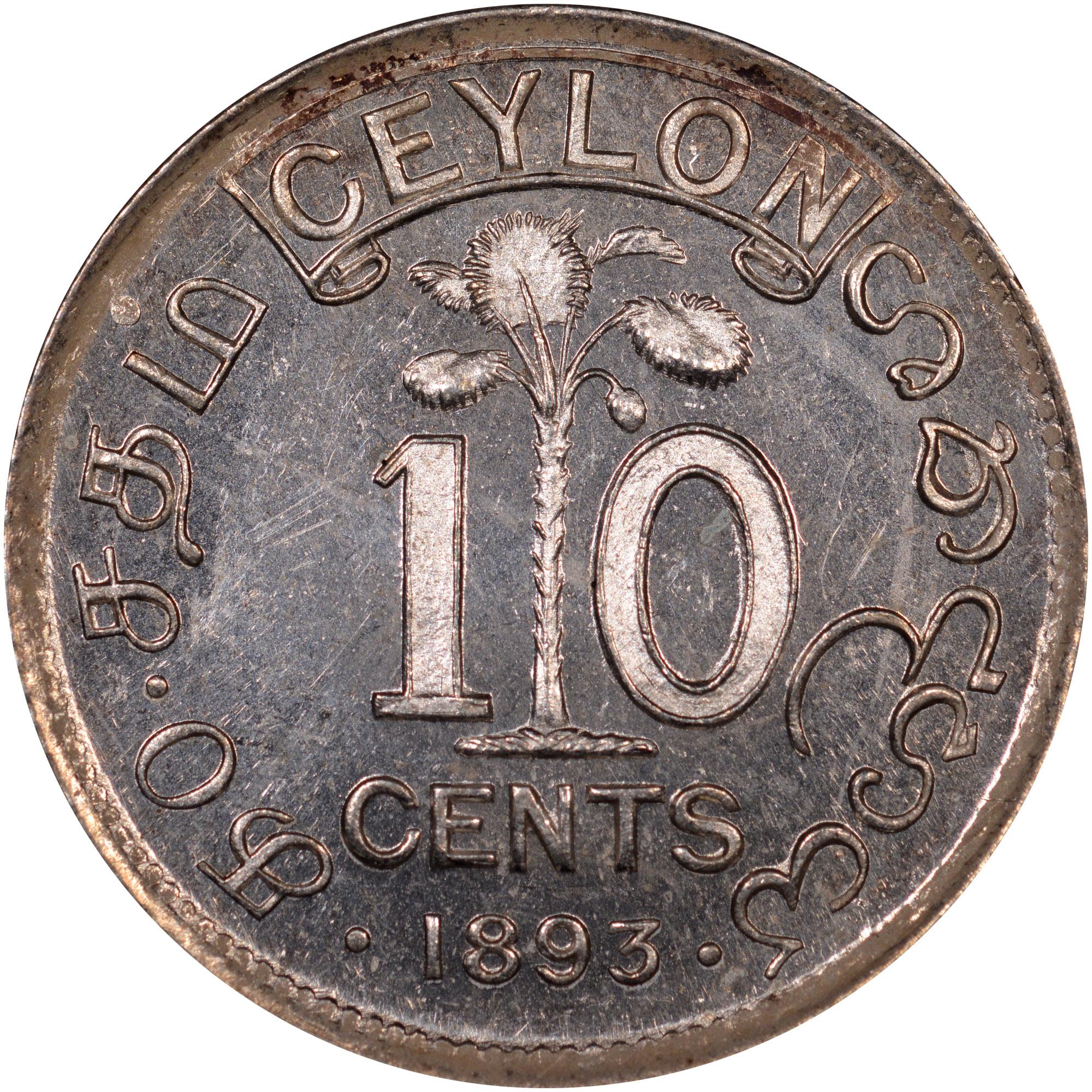 Ceylon 10 Cents reverse