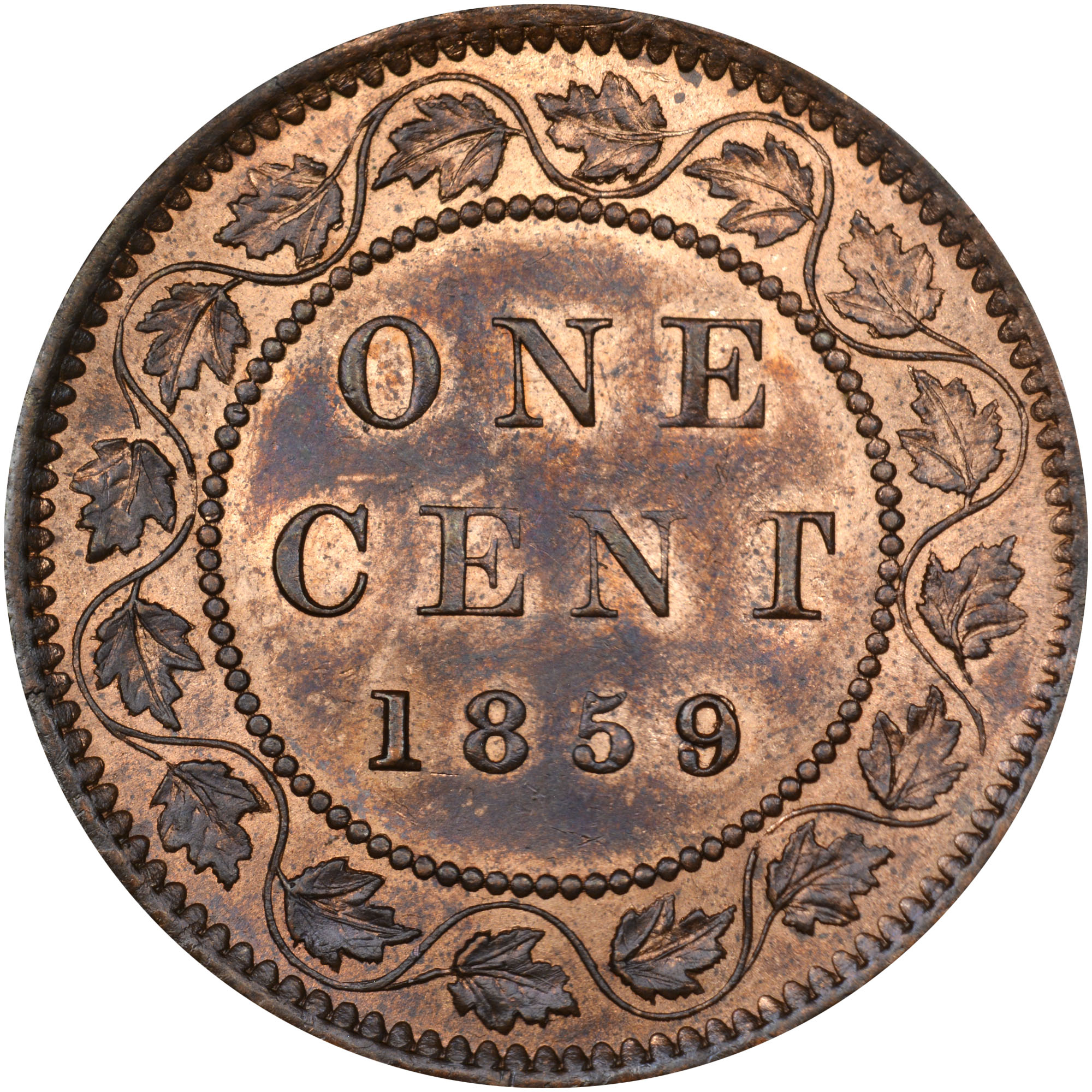 1858-1859/8 Canada Cent reverse