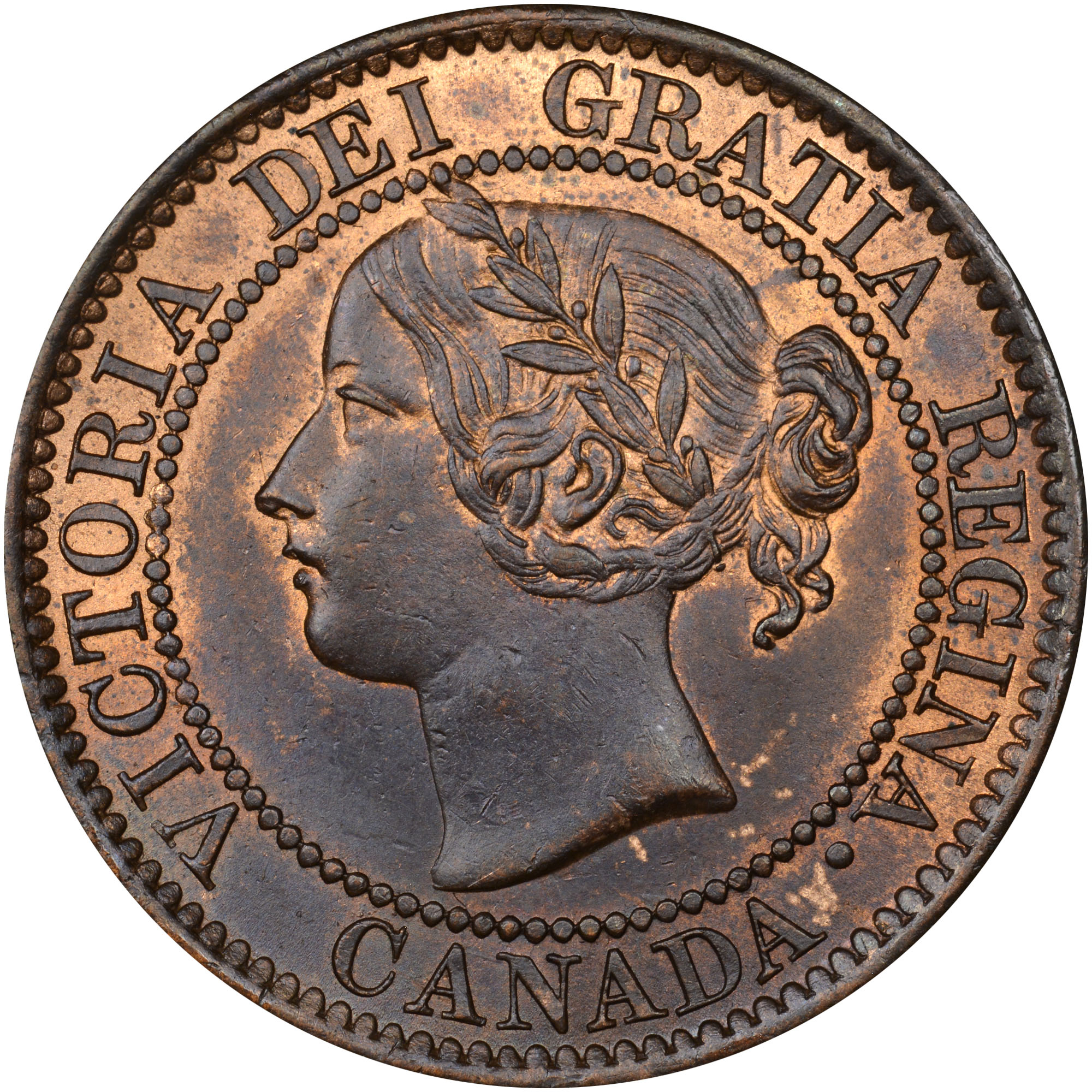 1858-1859/8 Canada Cent obverse