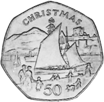 50 PENCE PROOF COIN 1981 YEAR CHRISTMAS KM#84 SHIP IN CARD ISLE OF MAN