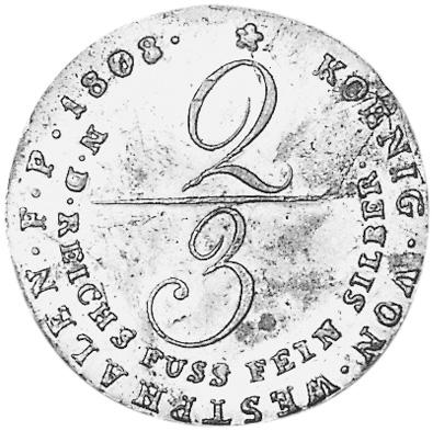 German States WESTPHALIA 2/3 Thaler reverse