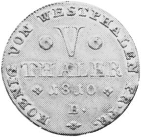 German States WESTPHALIA 5 Thaler reverse