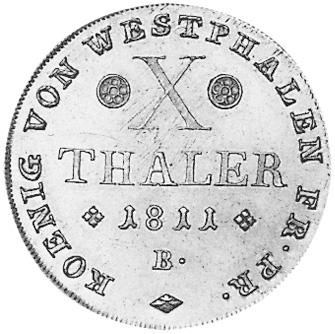 German States WESTPHALIA 10 Thaler reverse