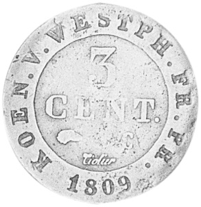 German States WESTPHALIA 3 Centimes reverse