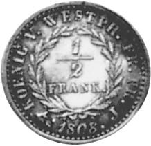 German States WESTPHALIA 1/2 Frank reverse
