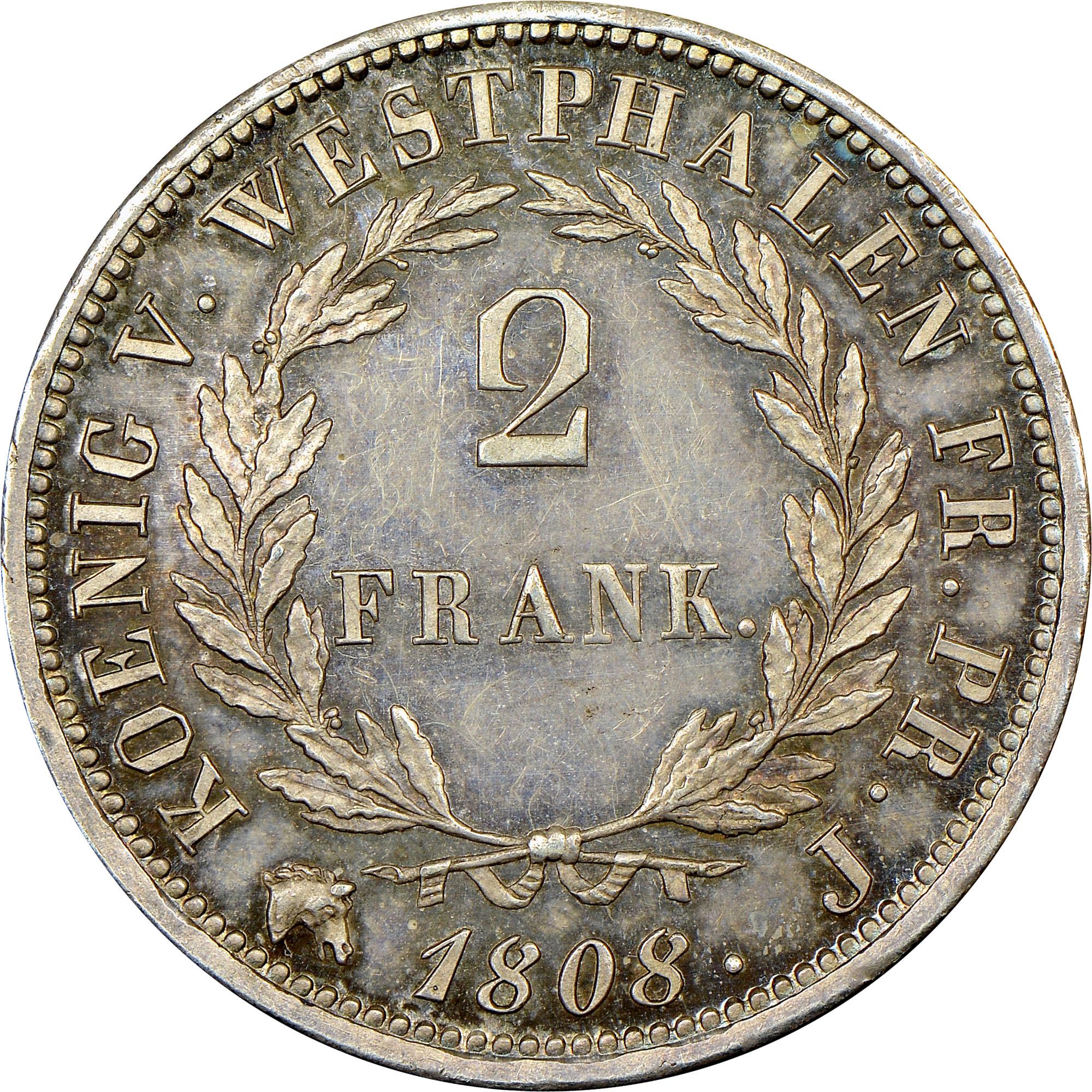 German States WESTPHALIA 2 Franken reverse