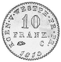 German States WESTPHALIA 10 Franken reverse