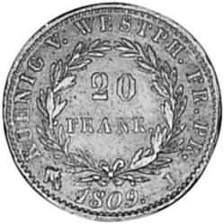 German States WESTPHALIA 20 Franken reverse