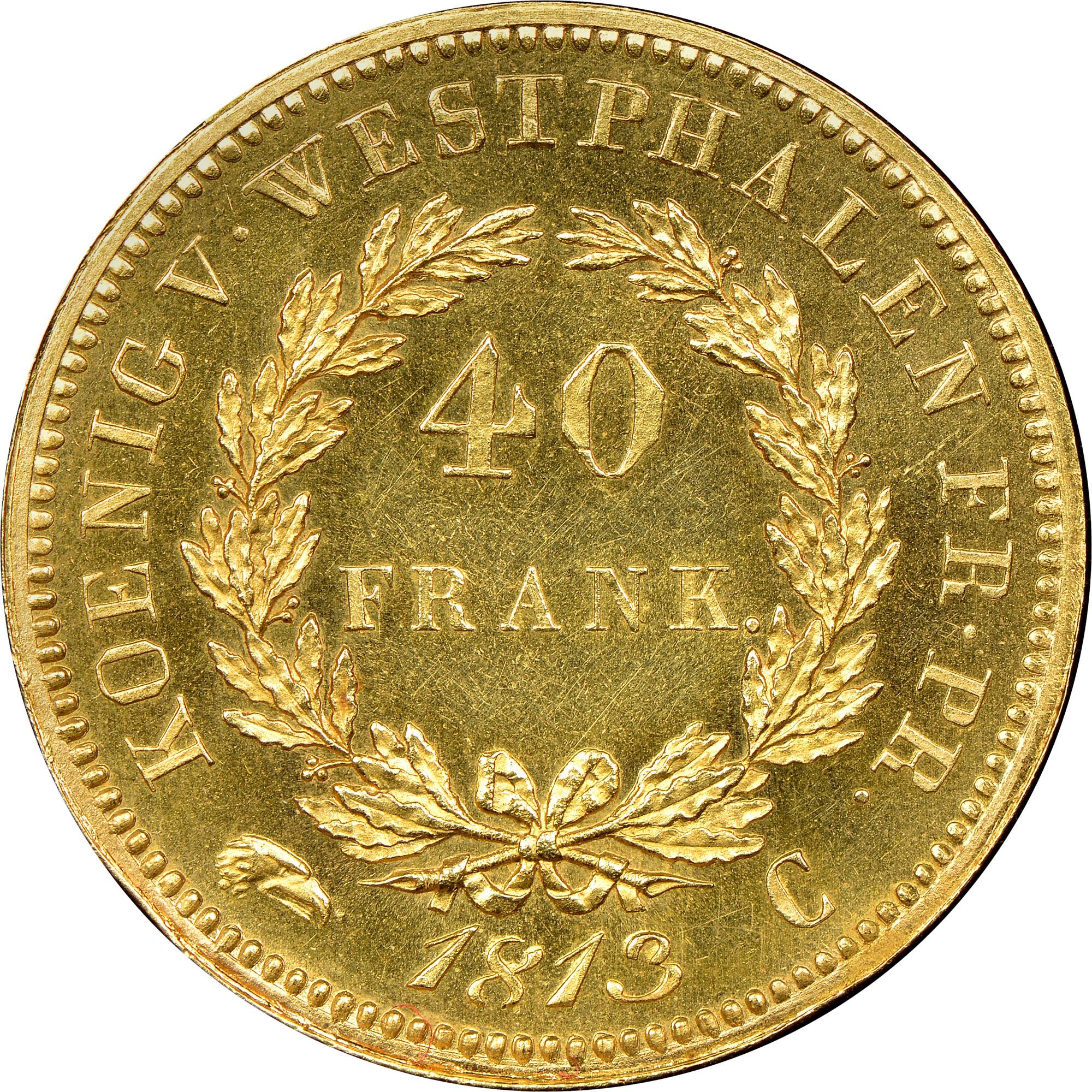German States WESTPHALIA 40 Franken reverse