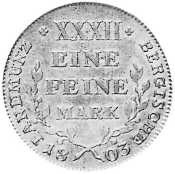 German States BERG 1/2 Thaler reverse