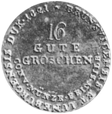 1821 German States HANNOVER 16 Gute Groschen reverse