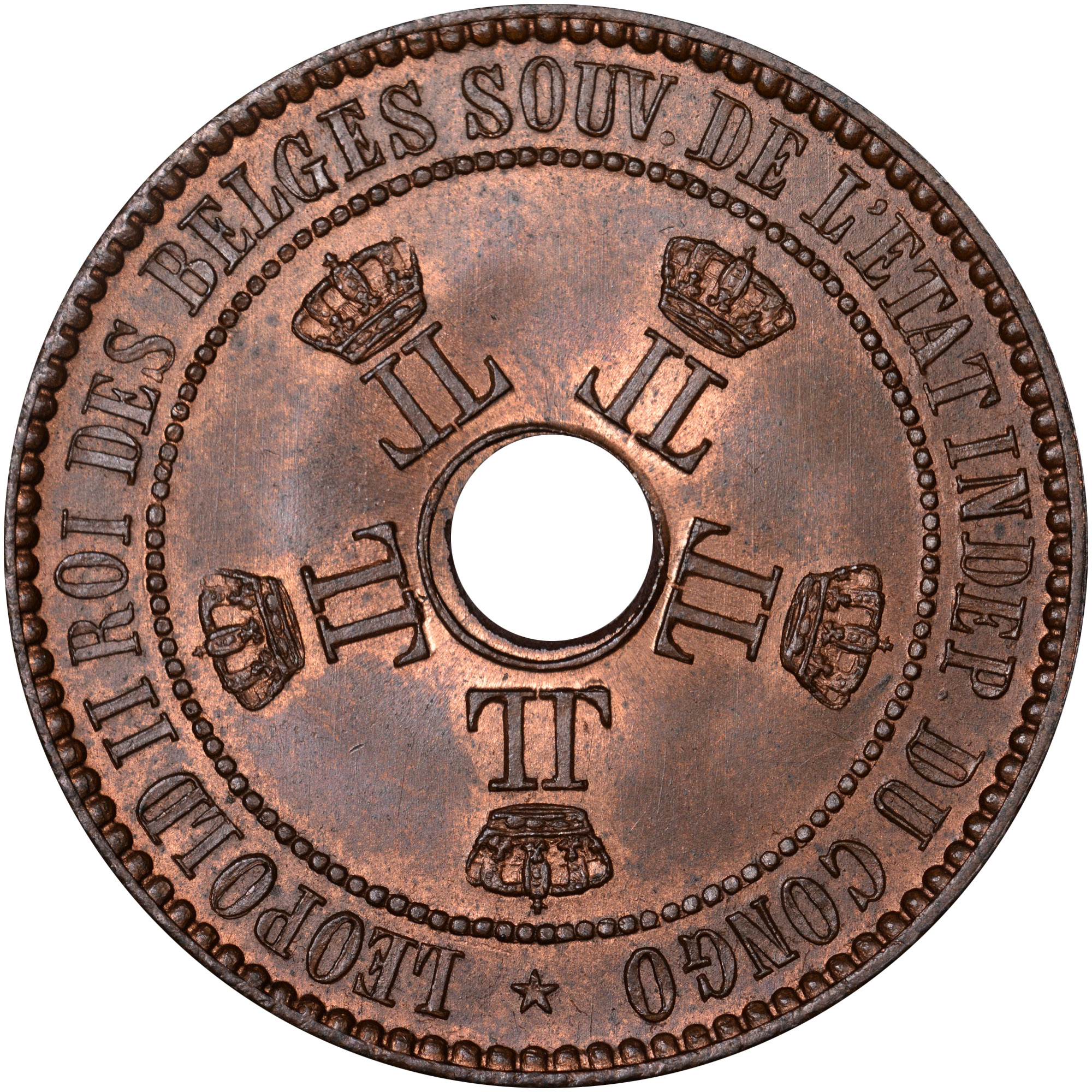 1887-1894 Congo Free State 5 Centimes obverse