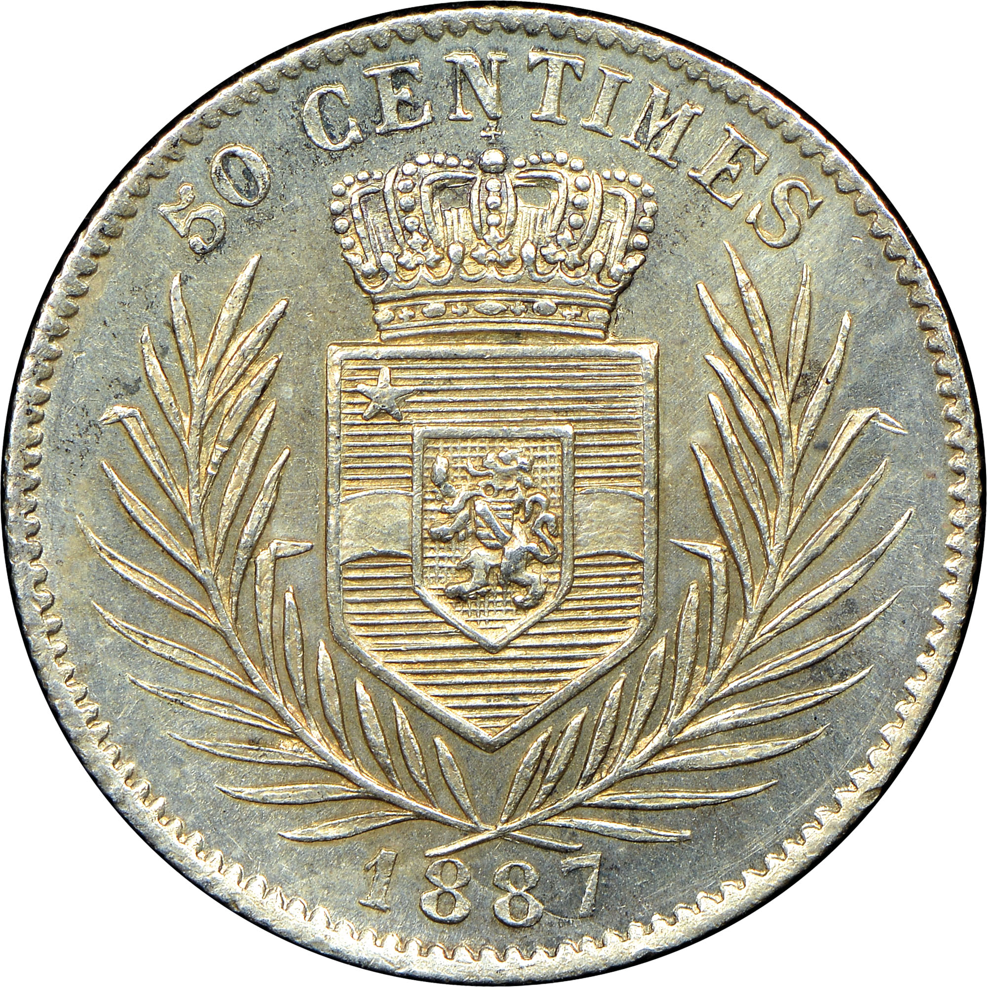 1887-1896 Congo Free State 50 Centimes reverse