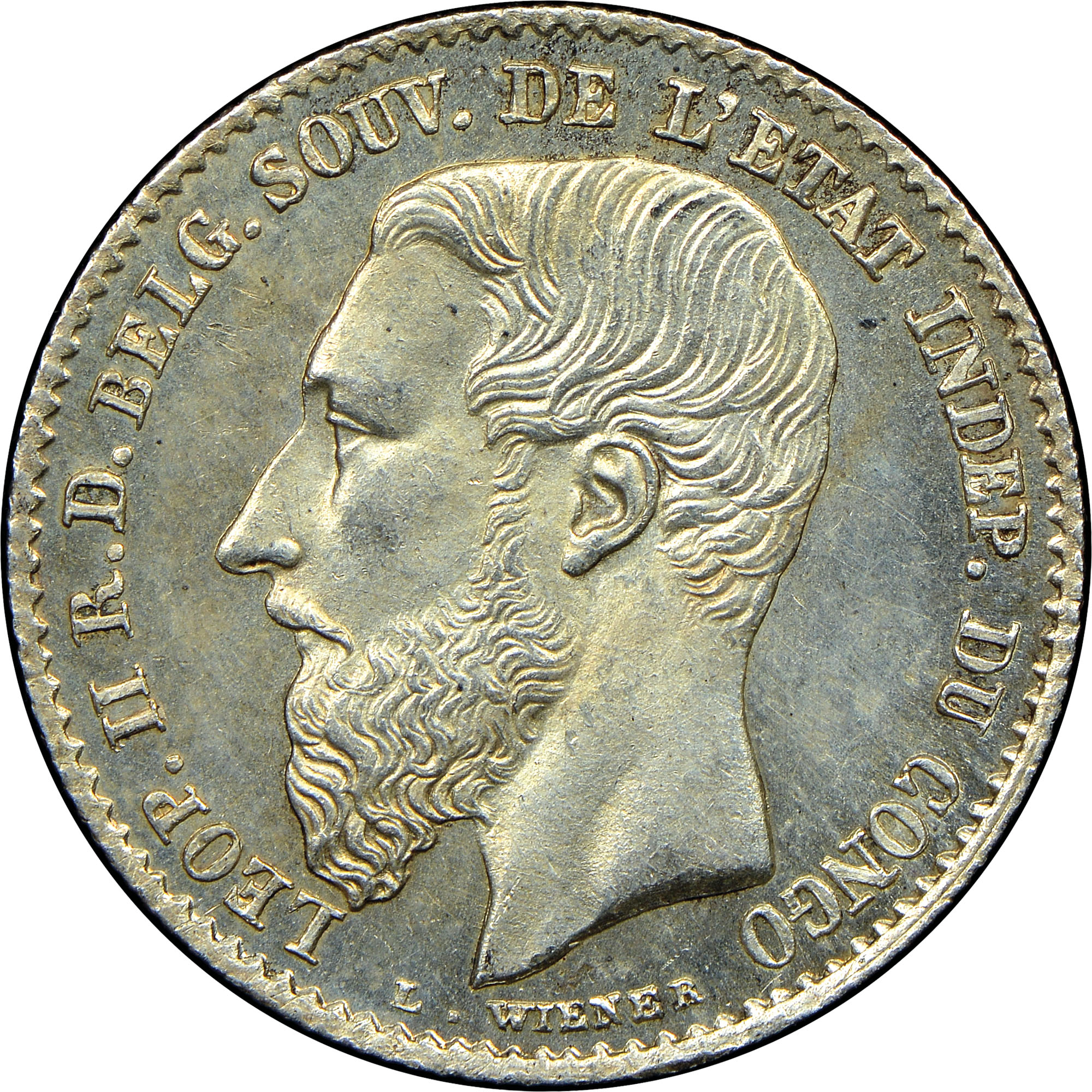 1887-1896 Congo Free State 50 Centimes obverse