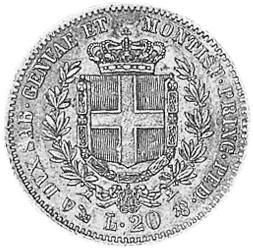 1850-1860 Italian States SARDINIA 20 Lire reverse