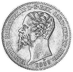 1850-1860 Italian States SARDINIA 20 Lire obverse