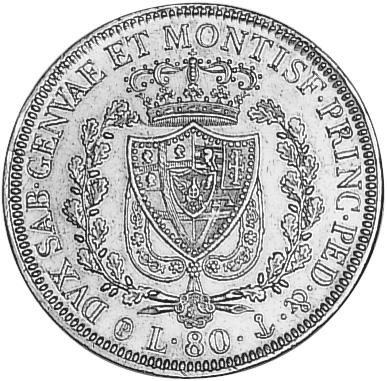 Italian States SARDINIA 80 Lire reverse